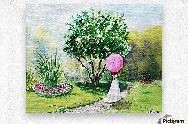 Girl With Pink Umbrella  Metal print
