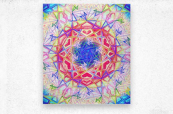 Psychedelic Art Hexagon Mandala Handdrawing  Metal print