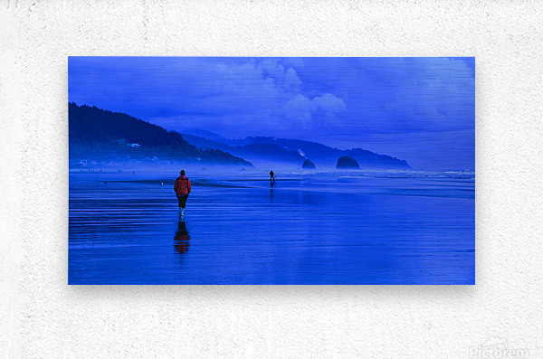 Woman in Red on Blue Beach  Metal print