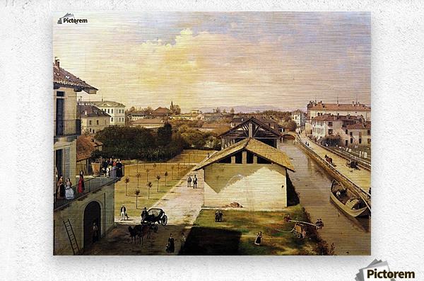 Veduta del Naviglio di San Marco dalla terrazza di Ca Medici, Milano, 1837  Metal print