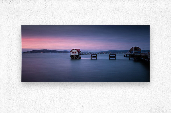 Mumbles pier and lifeboat station in Swansea  Metal print
