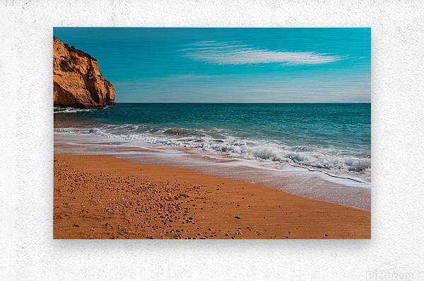 Ocean Beach in Teal and Orange  Metal print