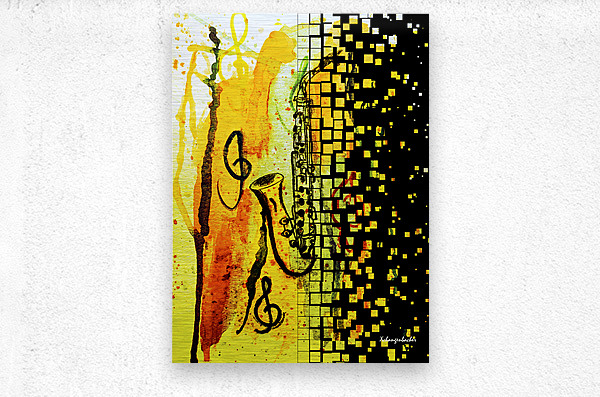 Saxophone Escaping  Metal print