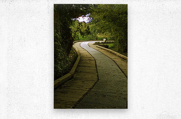 Boardwalk stroll  Metal print