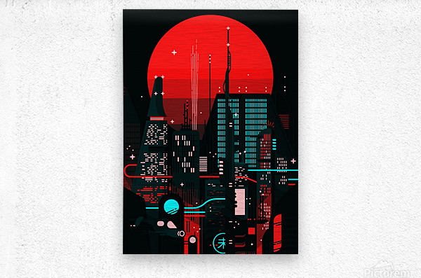 Neon City  Metal print