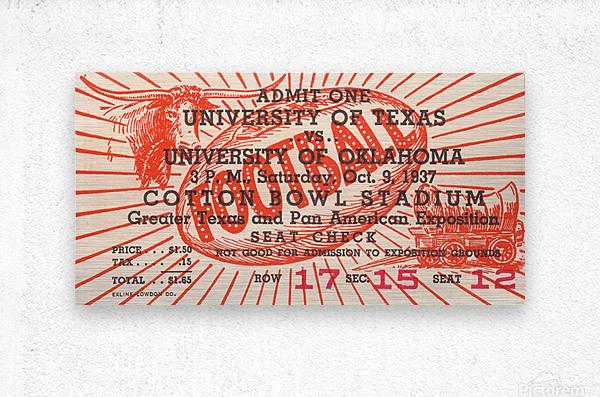 1937 Oklahoma vs. Texas  Metal print