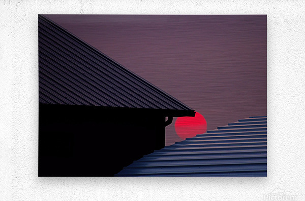 Smokey Sunset and Steel Roofs  Metal print