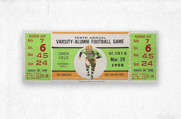 1958 Oklahoma Sooners Varsity Alumni Game  Metal print