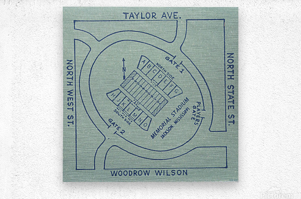 1956 Memorial Stadium Map Jackson MS  Metal print