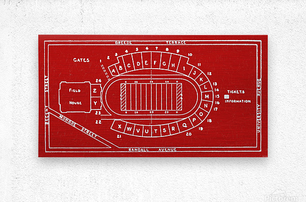 1937 Camp Randall Stadium Map  Metal print