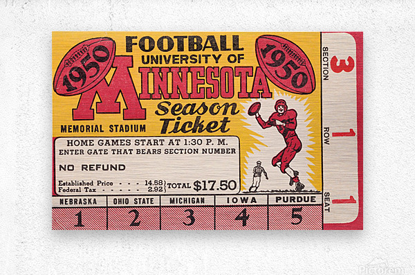 1950 University of Minnesota Season Ticket  Metal print