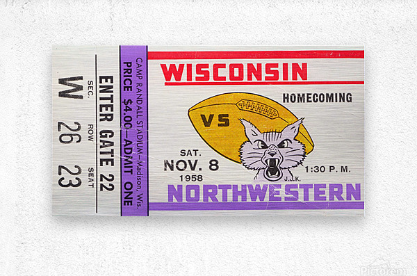 1958 Wisconsin vs. Northwestern  Metal print