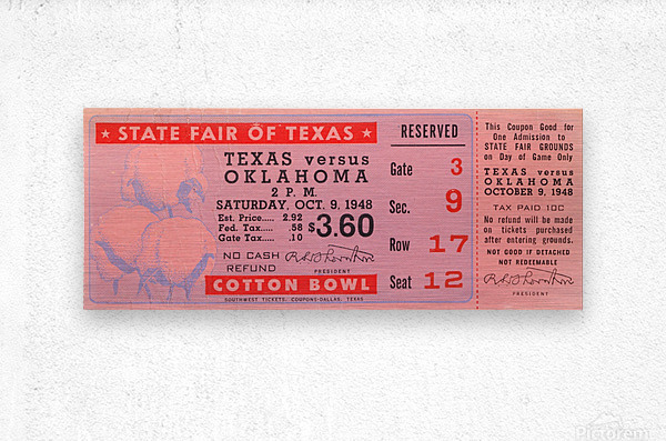 1948 Oklahoma vs. Texas  Metal print