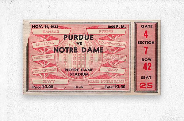 1933 Notre Dame vs. Purdue  Metal print