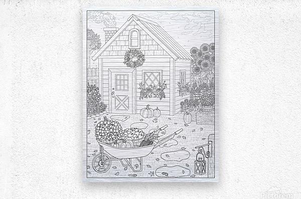 Autumn Cottage Coloring Page  Metal print
