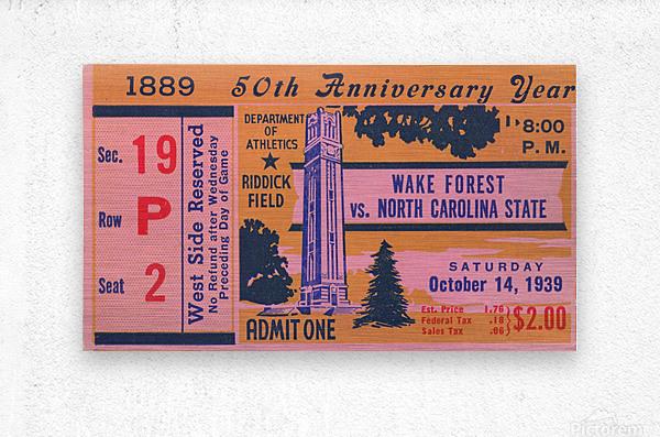 1939 NC State vs. Wake Forest  Metal print