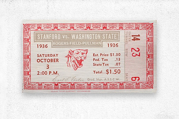 1936 Washington State vs. Stanford  Metal print