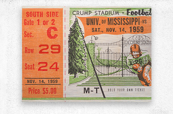 1959 Mississippi vs. Tennessee  Metal print