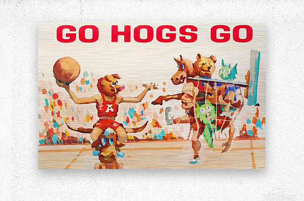 1984 Arkansas Cartoon Basketball Art  Metal print
