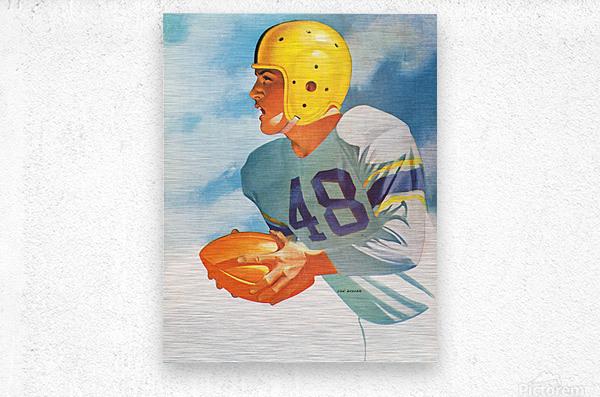 1948 Lon Keller Football Art  Metal print