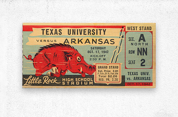 1942 Arkansas vs. Texas  Metal print