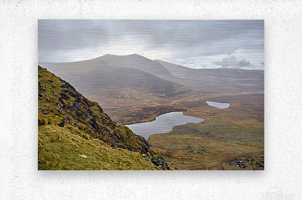 Mountain top view through Conors Pass co. kerry Ireland Europe 2018  Metal print