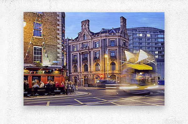 City street with people outside of pub at night Dublin Ireland  Metal print