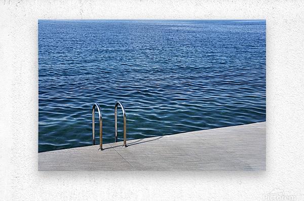 Pool ladder on the shore of the slovenian adriatic coast Piran Slovenia  Metal print