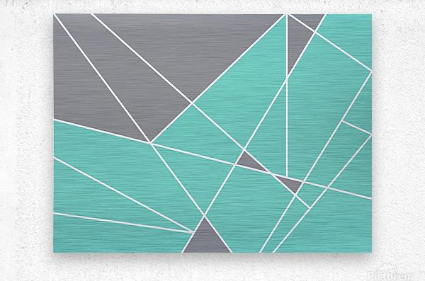 Gray Teal Triangles Geometric Art GAT101-3  Metal print