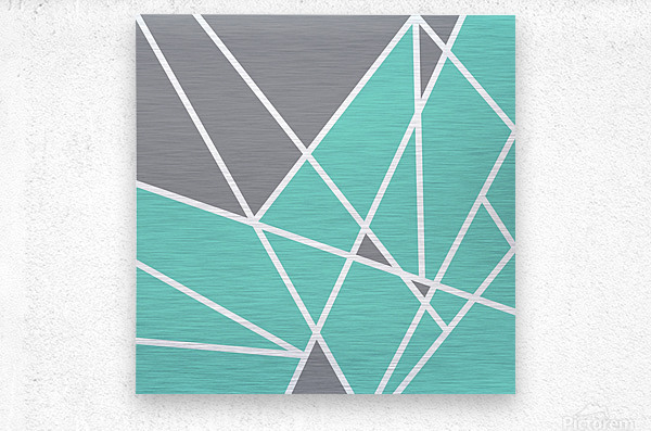 Gray Teal Triangles Geometric Art GAT101 square  Metal print