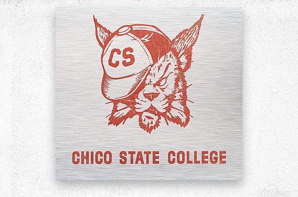 1950s Chico State College Wildcat Art  Metal print
