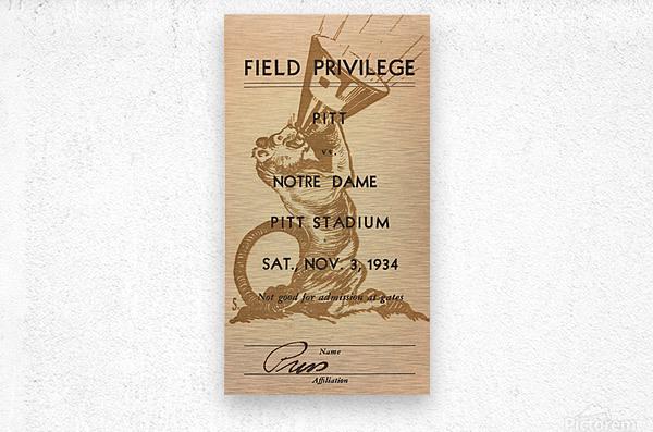 1934 Pitt vs. Notre Dame Football Press Pass  Metal print