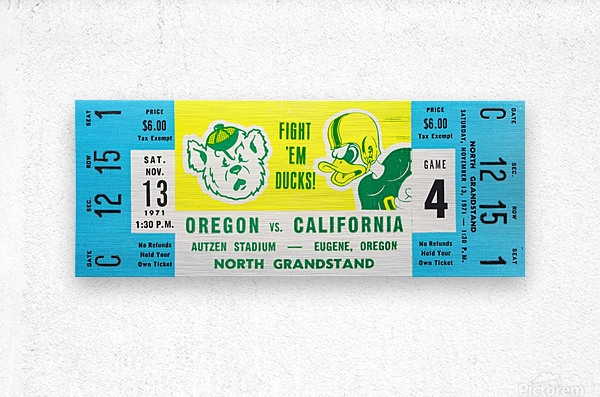1971 Oregon vs. California  Metal print