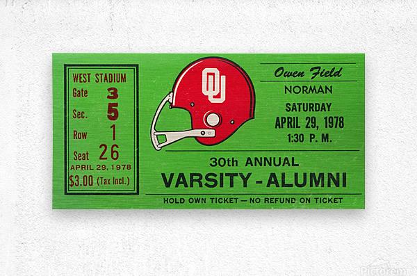 1978 Oklahoma Sooners Varsity Alumni Game  Metal print