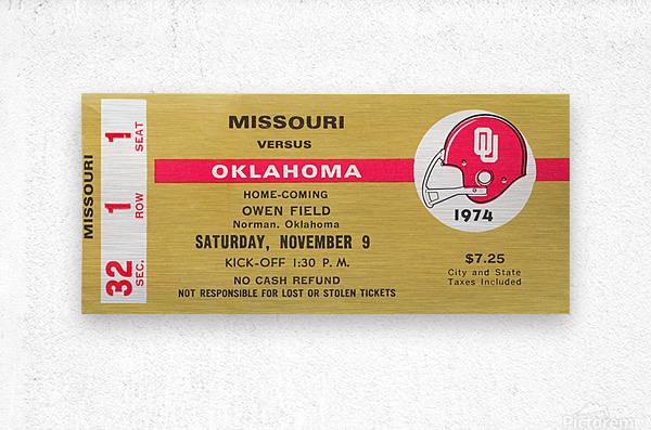 1974 Oklahoma vs. Missouri  Metal print
