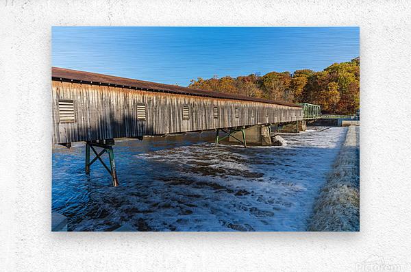 Harpersfield covered bridge and dam Ashtabula County autumn 2020  Metal print