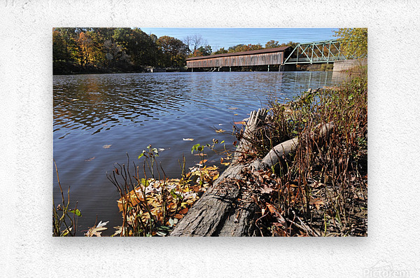 Harpersfield Ohio covered bridge in autumn from east side  Metal print
