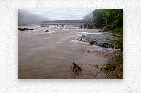 Grand River rapids at Harpersfield Covered Bridge Ohio  Metal print