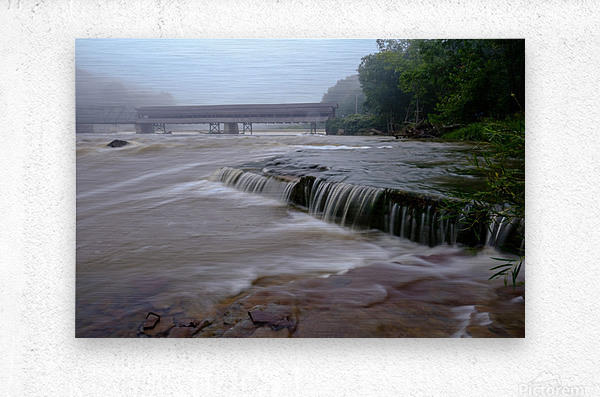 Harpersfield covered bridge and grand river rapids  Metal print