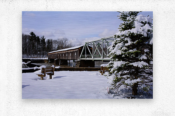 Harpersfield Ohio covered bridge winter and snow  Metal print