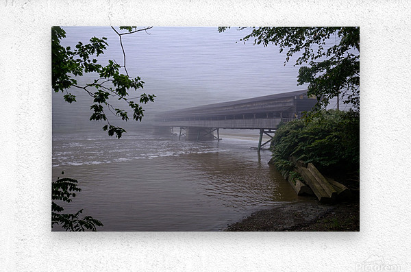 Harpersfield Ohio covered bridge in fog  Metal print