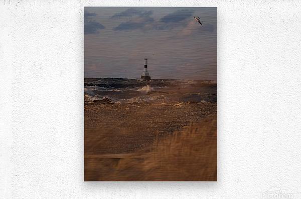 Conneaut Ohio lighthouse during storm  Metal print