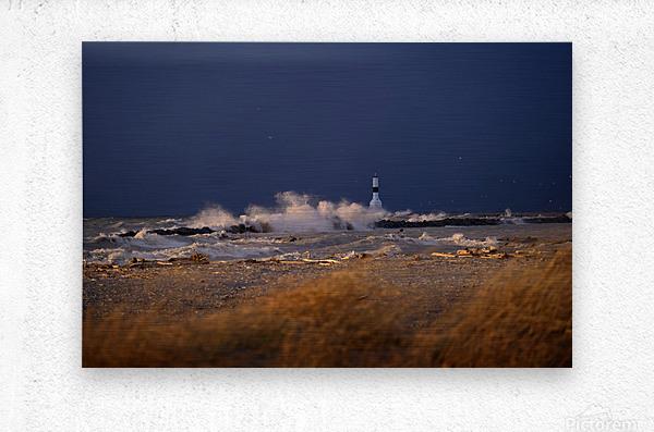Conneaut lighthouse in storm  Metal print