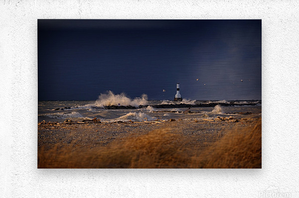 Lighthouse at Conneaut Ohio on Lake Erie during storm  Metal print
