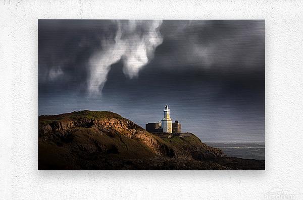 Mumbles lighthouse in the rain  Metal print