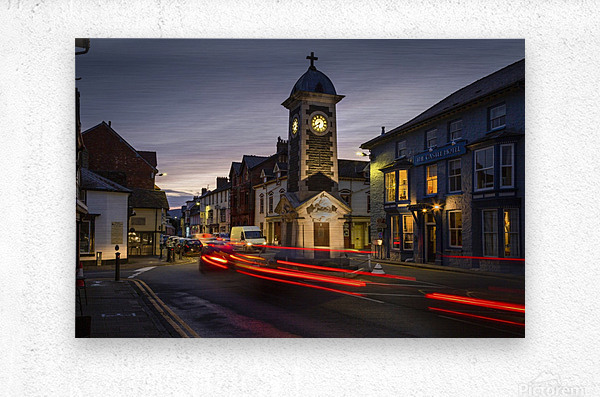 Rhayader town clock tower  Metal print