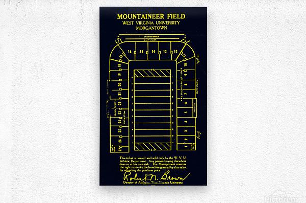 1967 Moutaineer Field Map Art  Metal print