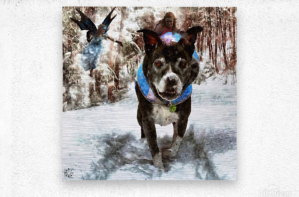 Tux with the Fairies  Metal print