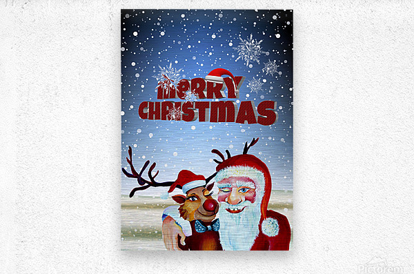 Santa Clause and Rudolph in Magical Winter night  Metal print