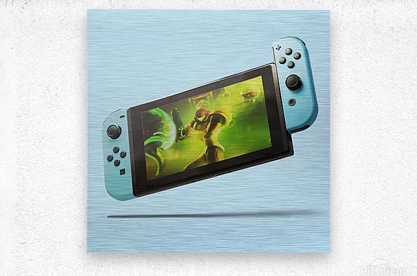 Nintendo Switch Blue  Metal print